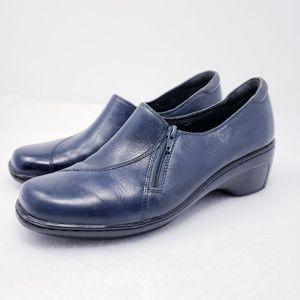 Clarks Zipper Navy Blue COmfort Slip On Clogs